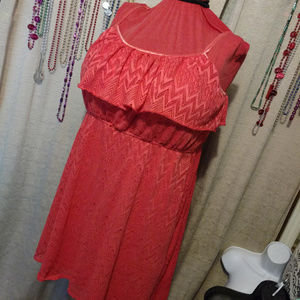 Deb Coral High/Low Crochet Mini Dress 2X